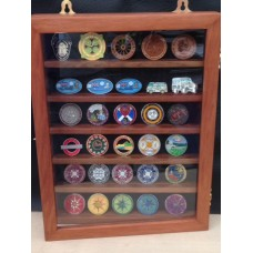 Wooden hand-made Geocoin display cabinets