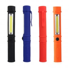 Mini pen light torch with COB LED, belt clip & magnetic base